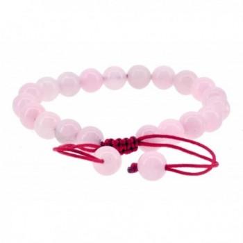 Pink Simulated Jade Beaded Bracelet