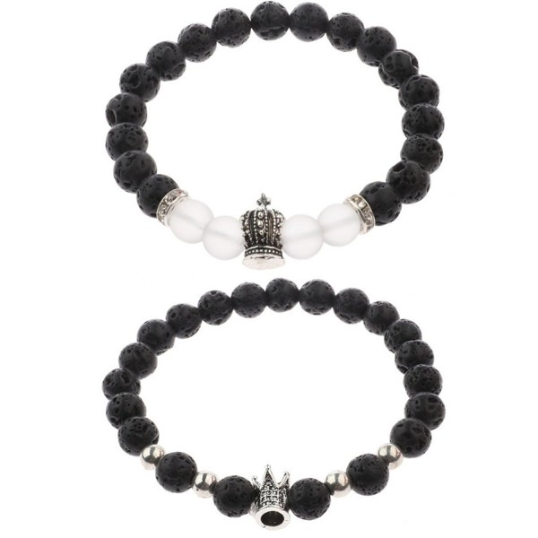 Unisex Prayer Healing Round Natural Lava Turquoise Stone 8mm Beads Stretch Bracelet with Charms - CW1890IRT05