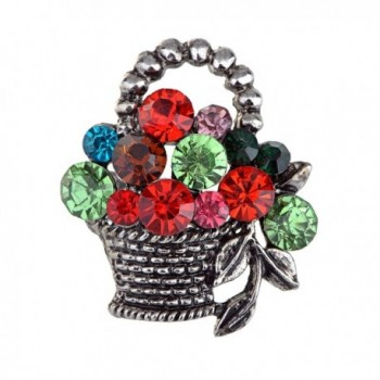 Alilang Antique Silvery Tone Multicolored Rhinestones Colorful Spring Basket Brooch Pin - CI113T2ENIN