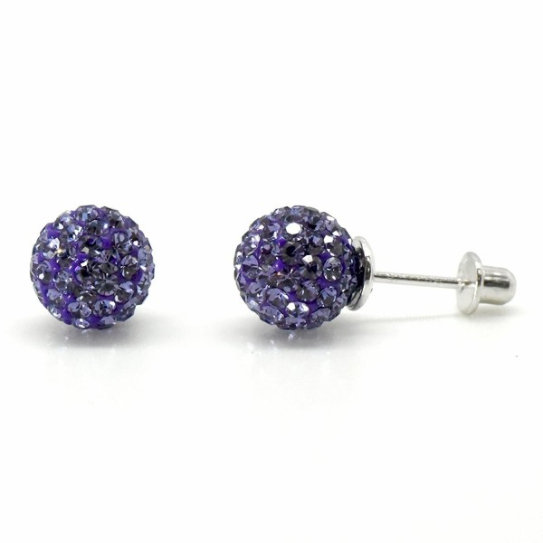 Sterling Simulated February Birthstone Earrings - Simulated Amethyst - February - CN12O0PRIZK
