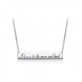 Sterling Silver Horizontal Bar Neckalce with Engraved I Love You To The Moon and Back Pendant - White Gold - CZ12O47NROM