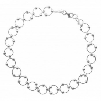 Sterling Silver Long 11-inch Comfortable Hoop & Bead (Beaded Circle Link) Anklet - Summer Jewelry - CD11L98J87P