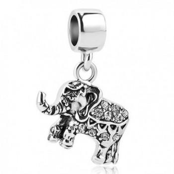 Roy Lopez White Elephant Dangle Charm Bead For Bracelets - White - CV188KKYKWX