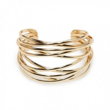 ViViCaSa Metal Fashion Wire Cuff Bangle Bracelet for Girls Women- Gold - Color 4 - C7186MKKN2X
