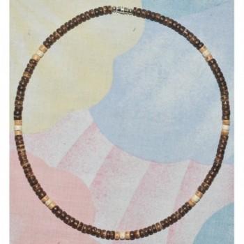 "Native Treasure - 16"" Brown- Tan and Cream Wood Coco Bead Necklace - 5mm (3/16"") - CG11WS5EXP5"