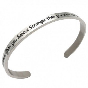 JJTZX Believe Stronger Inspirational Bracelet - Silver - CN186YQTSYY