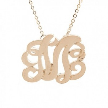 Brushed Metal Initial Monogram Split Chain Necklace (Initial M) - C711F5V77G1