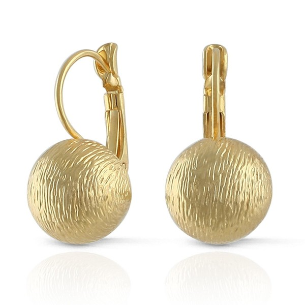JanKuo Jewelry Brushed Satin Matte Gold Plated Ball Leverback Earrings - CR12NYFY2K9