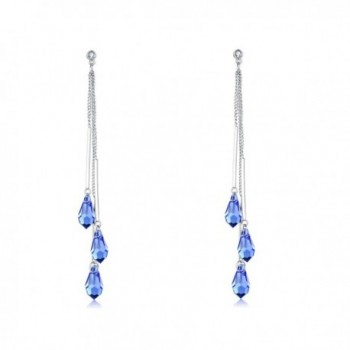 Desimtion Earrings Swarovski Silver Jewelry - Blue - CZ18966IOOX