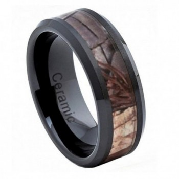 8mm Black Ceramic Wedding Band Ring High Polish with Forest Floor Foliage Camo Inlay Beveled Edge - C811ORC3XIF