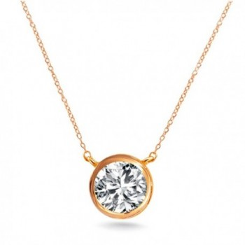""".925 Sterling Silver Rose Gold Tone Finish Pendant Necklace Round 7mm Bezel 16"""" - 18"""" GIFT Box - CY11O22FJM3"""