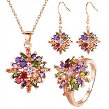 BAMOER Multicolor Zirconia Earrings Necklace - CE11PAC9B6X