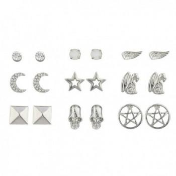 Lux Accessories Silver Crystal White Opal Pentagram Dragon Celestial Earring Set - CC17YHO6ARQ