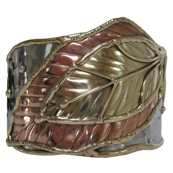Steel with Brass and Copper Leaves Cuff Bracelet - C5110YWGBA3
