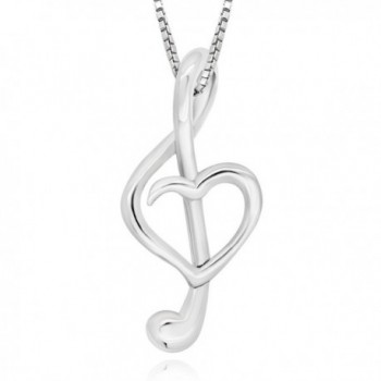 """925 Sterling Silver Heart Music Note Pendant Necklace- 18"""" - C117YZDY0TR"""