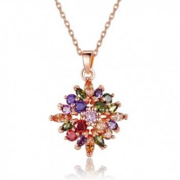 BAMOER Multicolor Zirconia Earrings Necklace
