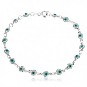 Sterling Silver with Blue Evil Eye Charmed 7 Inch Bracelet (I-1726) - CX11MYH8B7D