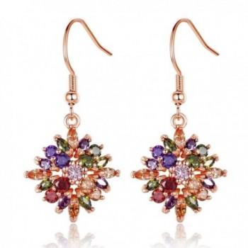 BAMOER Multicolor Zirconia Earrings Necklace in Women's Jewelry Sets