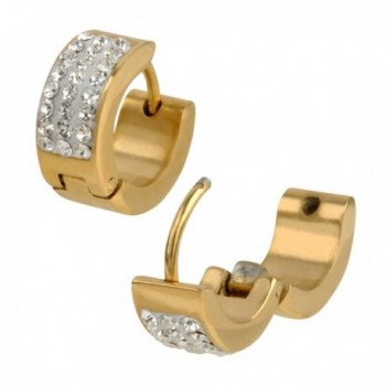 INOX 316L Stainless Steel Gold Tone Wide Huggie Hoop Earrings With Clear Pave Set CZs - CY11L3HQBH7