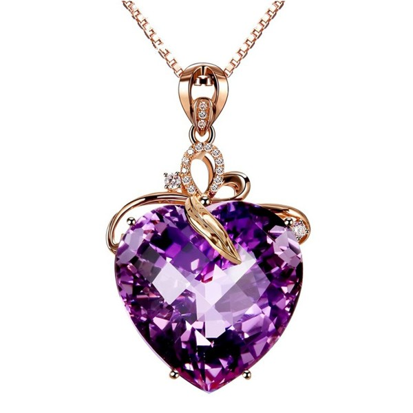 Women's Amethyst(Created) Heart Cubic-zirconia Crystal Rose Gold Plated Necklace Pendant - C212N1RHY87