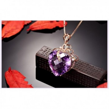 Amethyst Created Cubic zirconia Crystal Necklace in Women's Pendants