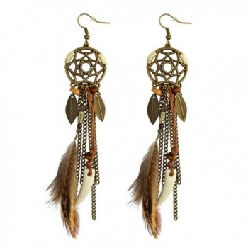 Punk Vintage Long Tassel Feather Beads Drop Wolf Tooth Pendant Earring Fish Hook Earrings - CC12K8FA81N