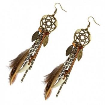 Vintage Feather Pendant Earring Earrings in Women's Drop & Dangle Earrings