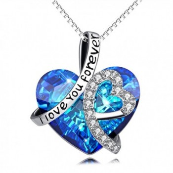 I Love You Forever Sterling Silver Heart Pendant Necklace with Swarovski Crystals - CX17AATCERK
