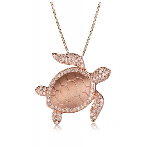 "Rose Gold Plated Sterling Silver Pave CZ Turtle Honu Necklace Pendant With 18"" Box Chain - CY182W82KXC"
