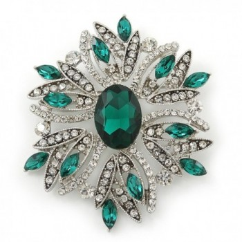 Stunning Bridal Emerald Green- Clear Austrian Crystal Corsage Brooch In Rhodium Plating - 60mm Length - CS11GU8NAYZ