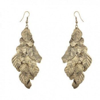 Lux Accessories Boho Burnish Gold Casted Leaves Fish Hook Chandelier Earrings - CV12LV66Q15