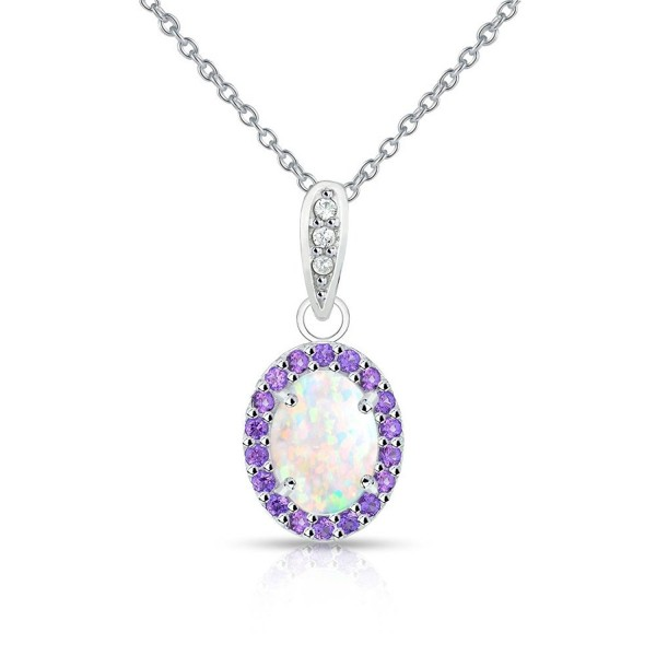 Sterling Silver Simulated White Opal and Simulated Gemstone Oval Halo Necklace - Simulated Amethyst - C4185OC522L