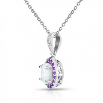 Sterling Silver Simulated Amethyst Necklace in Women's Pendants