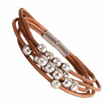 "Stylish Urban Jewelry Leather Bracelet for Women Silver Color Beads Cuff with Magnetic Clasp 7"" (Brown) - C311D5CQ8OJ"