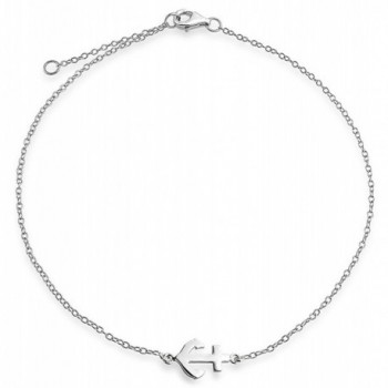 Bling Jewelry Nautical Anchor Adjustable Sterling Silver Anklet 9in - CE11LDQKDXB