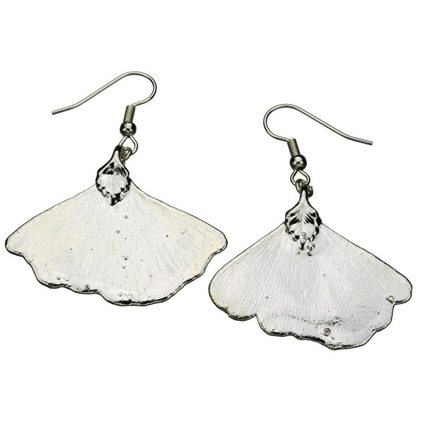 Silver-Plated Ginko Leaf Earrings - CU118R6VS9D