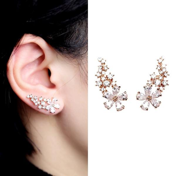 EVERU Pair Women's Bling Crystal Rose Gold Plated Flower Earrings Pierced Wrap Ear Cuff Stud Earrings - CT120IEGS19