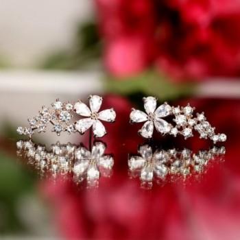 EVERU Womens Crystal Earrings Pierced in Women's Cuffs & Wraps Earrings