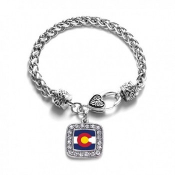 Colorado (CO) Flag Classic Silver Plated Square Crystal Charm Bracelet - CV11KY4UIFB