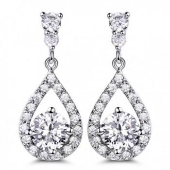 GULICX Silver Plated Base Round Cut Flawless CZ Cubic Zirconia Crystal White Women Drop Earrings - white - C4129KOUB6V