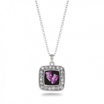 Drama Faces Acting Play Club Charm Classic Silver Plated Square Crystal Necklace - CN11MCHUBK5