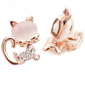 CNCbetter Women Fashion Jewelry Rose gold plated Cat Eye Stone Charms U Shaped Black On Clip Earring - CU1220AUFET