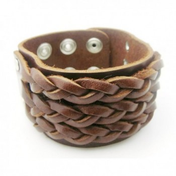 APECTO Jewelry Wide Brown Leather Wristband Cuff Bracelet- LB1 - C8123IXENRX