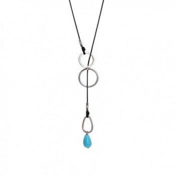 Handmade Women Long Lariat Turquoise Necklace on Waxed Cord Charm Pendant 35 Inch - CT12F905L4R