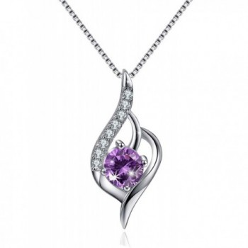 Angle Wing Sterling Silver Necklace CZ Cubic Zirconia Charm Pendant Necklace - Purple - C117YCYT6UD