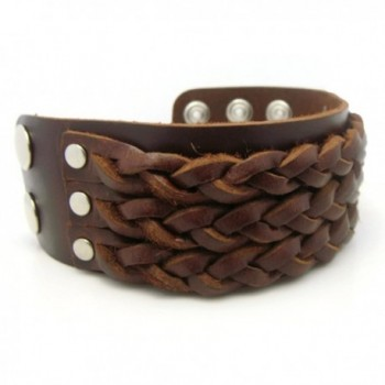 APECTO Jewelry Leather Wristband Bracelet in Women's Link Bracelets