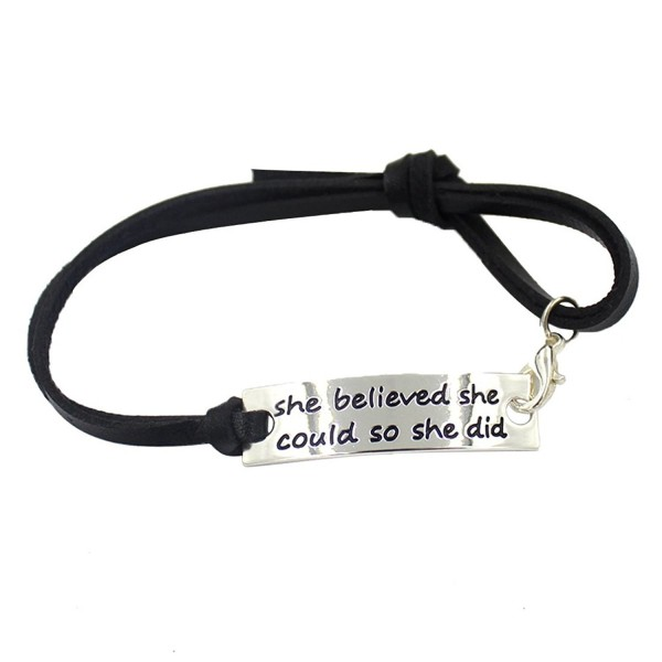 "YOYONY engraved message ""She believed she could so she did"" inspirational leather cuff bracelet - CF12GUN9JEZ"