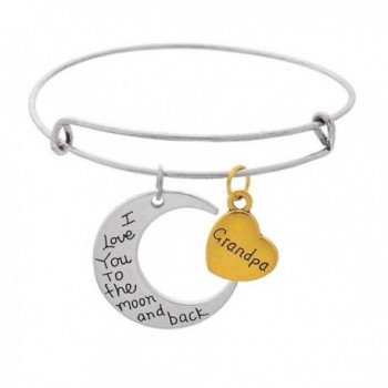 """Moon And Heart Pendants """"Mom I Love You To The Moon And Back """" Expandable Wire Bangle Bracelet - Grandpa - CD182DW3ONI"""