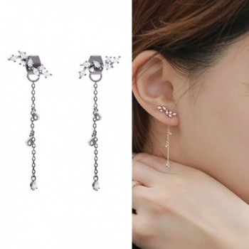 CIShop Leaf Vine Zircon Diamond Long Earrings Ear cuff Earrings Elegant Dangle Earrings 1Pair SilverTone - C411ZMXMDTX