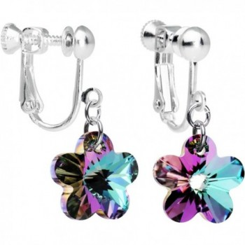 Body Candy Handcrafted Vitrail Light Flower Clip Earrings Created with Swarovski Crystals - CQ12GLRUL0V